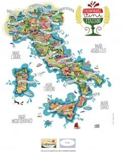 Вина на туристической карте италии