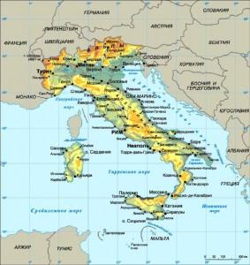 Италия на физической карте
