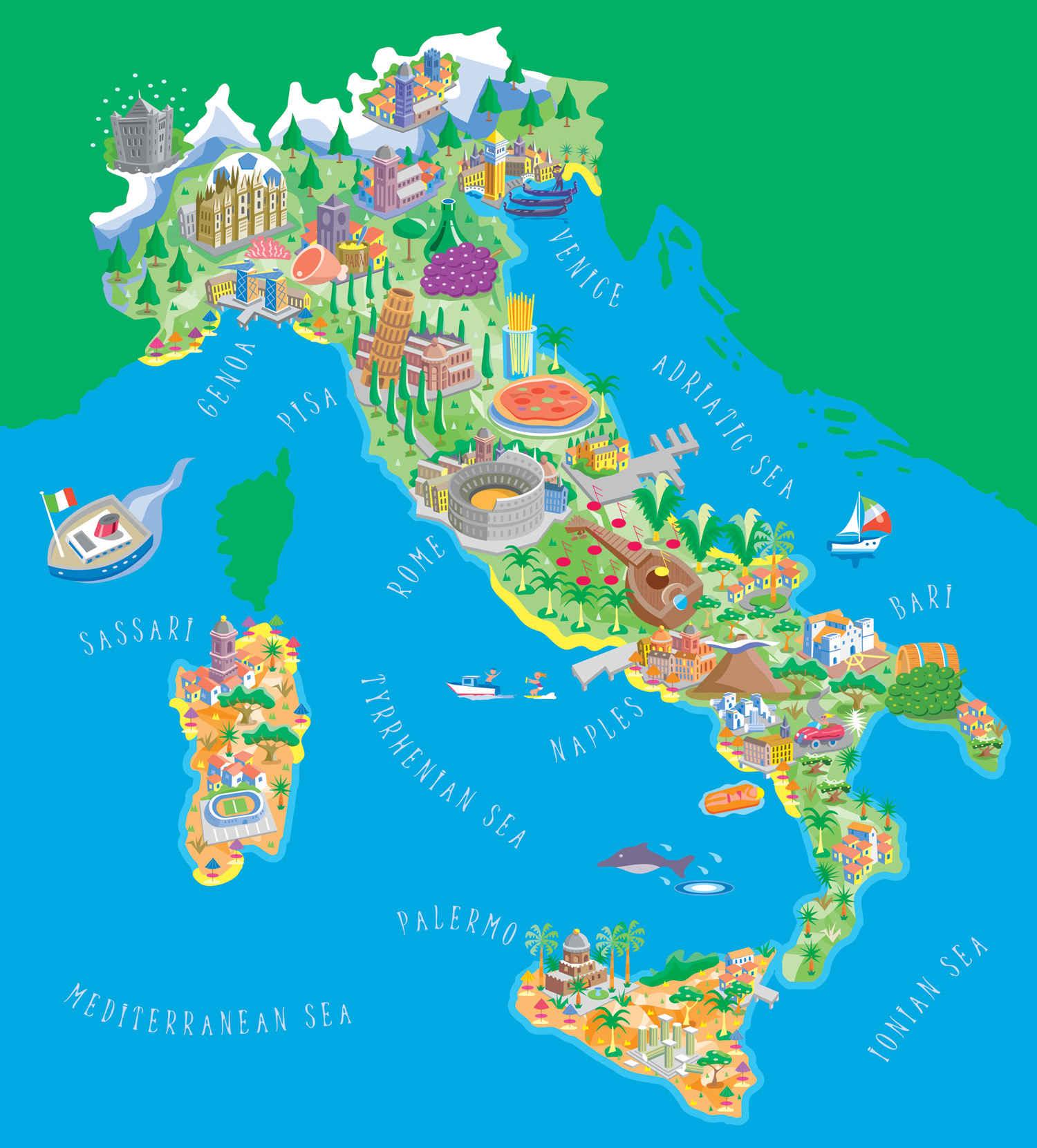 Италия и ее достопримечательности на карте для туристов