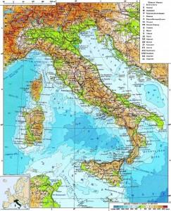Физическая карта Италии с рельефом