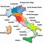Карта с регионами Италии