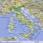 Италия на русскоязычной физико-политической карте