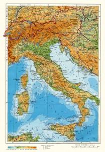 Детальная физическая карта Итальянской республики