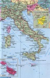 Итальянская республика - политическая карта на русском