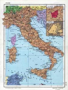 Подробная политическая карта республики Италия