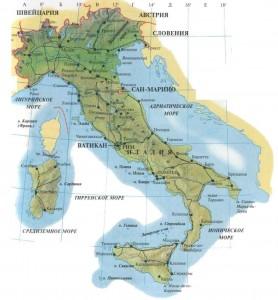 Популярные туристические маршруты Италии на карте