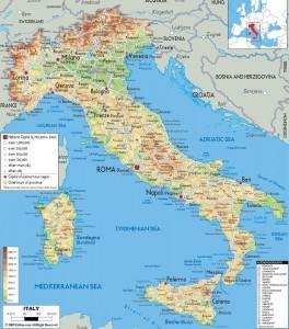 Карта автомобильных дорог Италии на итальянском и английском