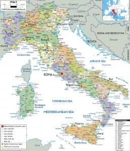 Карта дорог Италии с регионами