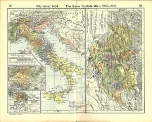 Италия на исторической карте (1494 год)