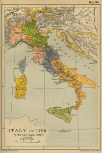 Италия в 1799 году - историческая карта на английском