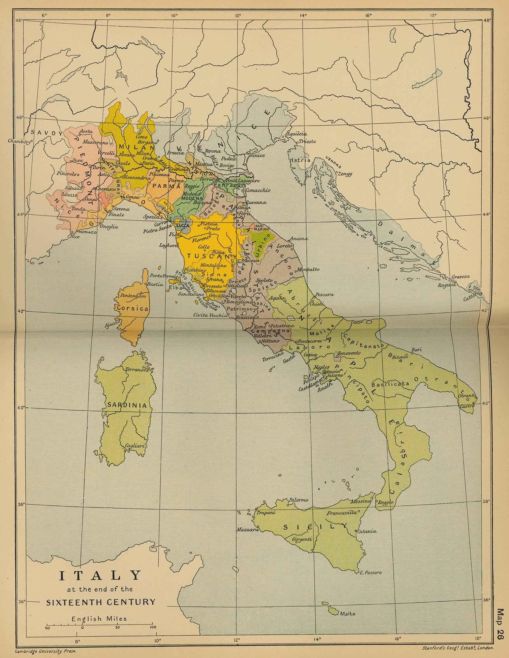 Италия эпохи Позднего Средневековья на исторической карте