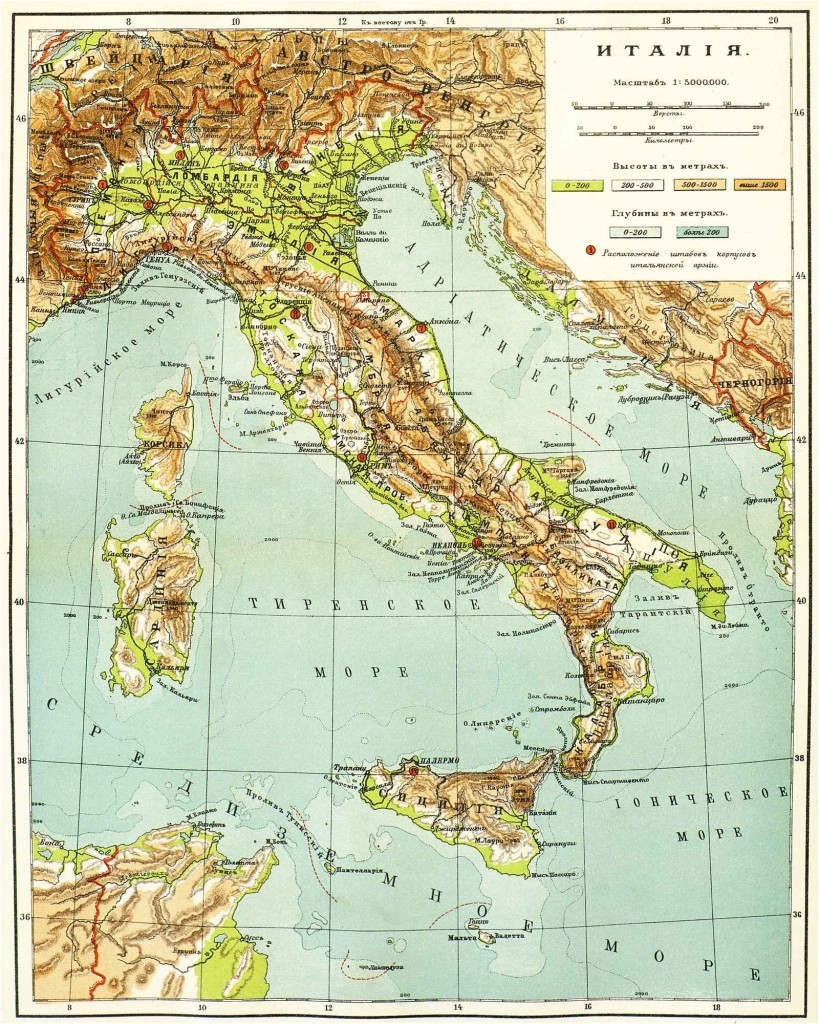Одна из первых российских физических карт Италии